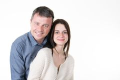 daughter and father couple standing on white background isolated stock photo