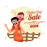 Happy daughter and father duo, Father`s Day celebration sale ban. Ner design with extra 20% cashback offers royalty free illustration