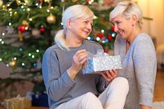 Mother and daughter by Christmas tree. Happy daughter giving mother Christmas gift stock photo