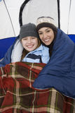 Happy Daughter And Mother Camping Royalty Free Stock Photos