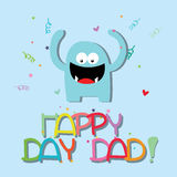 Happy day. Abstract blue monster celebrating father's day on blue background Royalty Free Stock Images