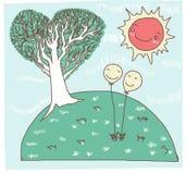 Happy day balloon and tree heart Stock Image