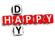 Happy Day Crossword. 3D Happy Day Crossword on white background Stock Photo