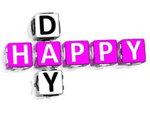Happy Day Crossword. 3D Happy Day Crossword on white background Stock Images