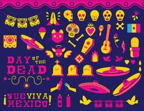 Happy Day of the dead traditional mexican icon set Royalty Free Stock Photos