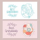 Happy day for the elderly. Lovely greeting card with a holiday. Happy grandfather and his beloved grandson. Floral wreath. Vector illustration vector illustration