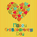 Happy day. Happy grandparents day with an abstract big heart on special yellow background Royalty Free Stock Image