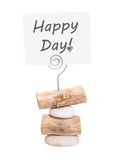 Happy day - greetings for valentine, wedding or birthday. Happy day: white sign on a natural wood paper holder isolated on white background stock image