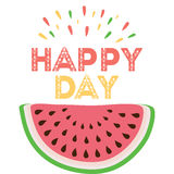 Happy day. Hand drawin vector abstract watermelon print decorated emotion quote. vector illustration