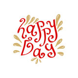 Happy day hand drawn lettering. Vector typographic card or blog icon. Royalty Free Stock Images