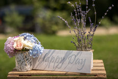 Happy day. Lettering and bouquet Royalty Free Stock Images