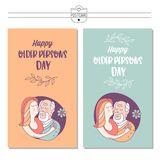 Happy day of the older person. Cute vector illustration of a greeting card. Happy day of the older person. Granddaughter hugging a beloved grandfather. Cute royalty free illustration
