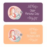 Happy day of the older person. Cute vector illustration of a greeting card. Happy day of the older person. Granddaughter hugging a beloved grandfather. Cute stock illustration