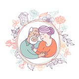 Happy day of the older person. Cute vector illustration of a greeting card. Happy day of the older person. An elderly couple, husband and wife hugging each vector illustration