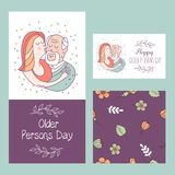 Happy day of the older person. Cute vector illustration of a greeting card. Happy day of the older person. Granddaughter hugging a beloved grandfather. Cute vector illustration