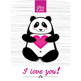 Happy day panda. Love you panda vector  illustration cartoon animal happiness painting small humor fun smiling Stock Image