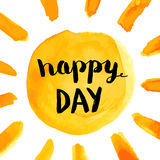Happy day phrase with sun hand paint watercolor poster Royalty Free Stock Images
