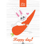 Happy day rabbit. Rabbit keeps carrot heart  delicious eating happy  day love give you valentine card smile Stock Photo