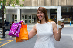 Happy day shopping in the city Stock Photos