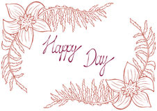 Happy day. Vintage background with ancient flowers like narcissus and fern branch. In hand drawn style, hand-drawn vector illustration Royalty Free Stock Photography