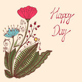 Happy day. Vintage colorful background with ancient flowers like portulaca Royalty Free Stock Images