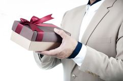 Happy day with happy young businessman looking romantic to give surprise red gift box. Surprise with Gift boxes on Valentine Days stock photography