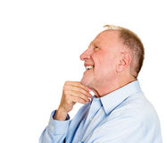 Happy daydreaming older man Royalty Free Stock Images