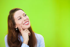 Happy daydreaming woman Stock Photo