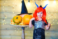 Happy deamon children during Halloween party Stock Photography