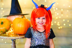 Happy deamon children during Halloween party Royalty Free Stock Images