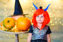 Happy deamon children during Halloween party Royalty Free Stock Photo