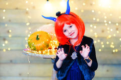 Happy deamon children during Halloween party Stock Images