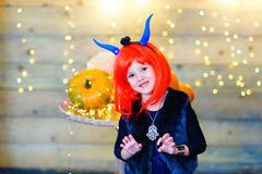 Happy deamon children during Halloween party Royalty Free Stock Photography