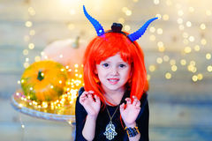 Happy deamon children during Halloween party Royalty Free Stock Photos