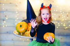 Happy deamon children during Halloween party Royalty Free Stock Image
