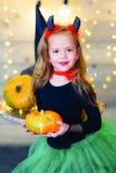 Happy deamon children during Halloween party Stock Photos