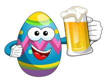 Happy Decorated Easter Egg character drinking mug beer. Isolated on white Stock Images