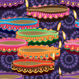 Happy deepavali lamp colorful seamless pattern. This illustration is design and drawing Happy Deepavali and Diwali in purple background and seamless pattern Royalty Free Stock Image