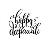 Happy deepawali black calligraphy hand lettering text. Isolated on white background for indian diwali fire light holiday design template, greeting card vector vector illustration