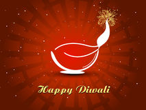 Happy deepawali greeting card with diya Stock Photo