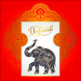 Happy Deepawali greeting card with hand written inscription and. Elephant to indian light community diwali festival, vector illustration eps10 royalty free illustration