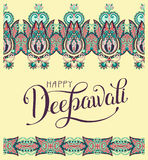 Happy Deepawali greeting card with hand written inscription. To indian light community diwali festival, vector illustration stock illustration