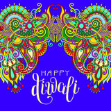 Happy Deepawali greeting card with hand written inscription. To indian light community diwali festival, vector illustration vector illustration