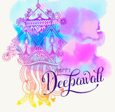 Happy Deepawali watercolor greeting card to indian fire festival. Diwali with hand lettering inscription, vector illustration eps10 Stock Photos
