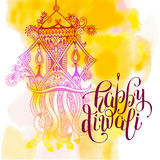 Happy Deepawali watercolor greeting card to indian fire festival. Diwali with hand lettering inscription, vector illustration eps10 Stock Photography