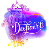 Happy Deepawali watercolor greeting card to indian fire festival. Diwali with hand lettering inscription, vector illustration eps10 Royalty Free Stock Images