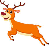 Happy deer cartoon running Royalty Free Stock Images
