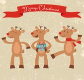 Happy deers Christmas card Royalty Free Stock Image