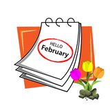 Hello february with reminder paper stock vector. Vector illustration concept for Hello february. EPS file available. see more images related stock illustration