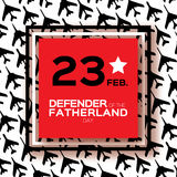 Happy Defender of the Fatherland day. 23 February.fighter. Happy Defender of the Fatherland day. 23 February Greeting card for men on fighter military background Royalty Free Stock Images